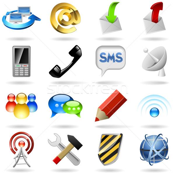 связи Интернет иконы набор изолированный белый компьютер Сток-фото © tuulijumala