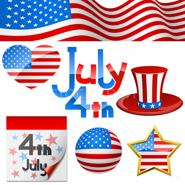 July 4th Independence Day symbols vector set. Stock photo © tuulijumala