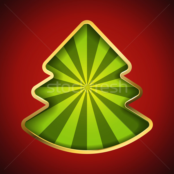 Abstract Christmas tree card with recessed green rays background Stock photo © tuulijumala