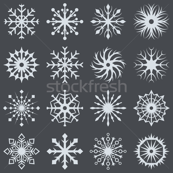 Witte sneeuwvlok iconen donkergrijs vector communie Stockfoto © tuulijumala