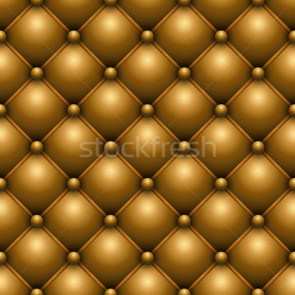 Seamless yellow buttoned leather upholstery vector texture. Stock photo © tuulijumala