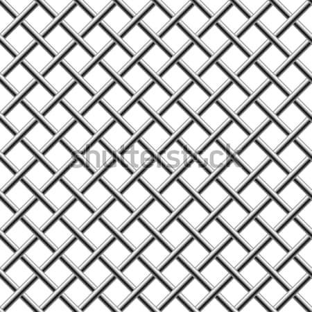 Seamless chrome braided diagonal grill isolated on white.  Stock photo © tuulijumala
