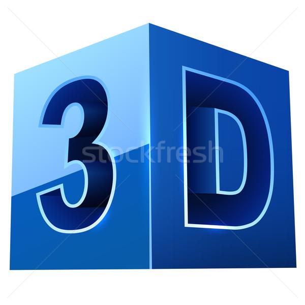 Blauw 3D video formaat teken geïsoleerd Stockfoto © tuulijumala