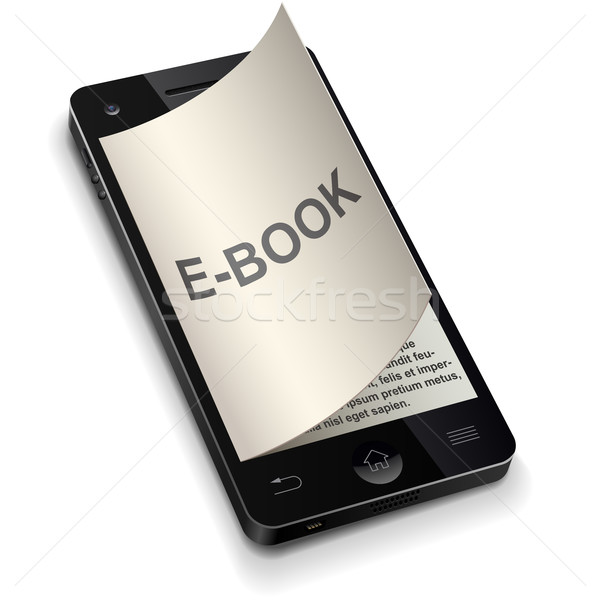 3D smartphone e-book concept with curled title page vector illus Stock photo © tuulijumala