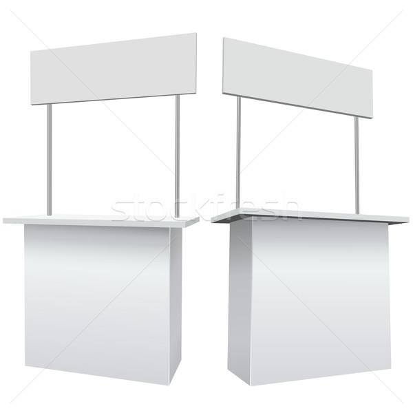 Blank white promotion exhibition counter isolated on the white b Stock photo © tuulijumala
