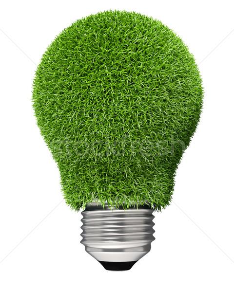 Stockfoto: Gloeilamp · gedekt · groen · gras · geïsoleerd · witte · groene · energie