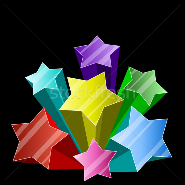 Multicolor 3D star burst on black background with copy space. Stock photo © tuulijumala