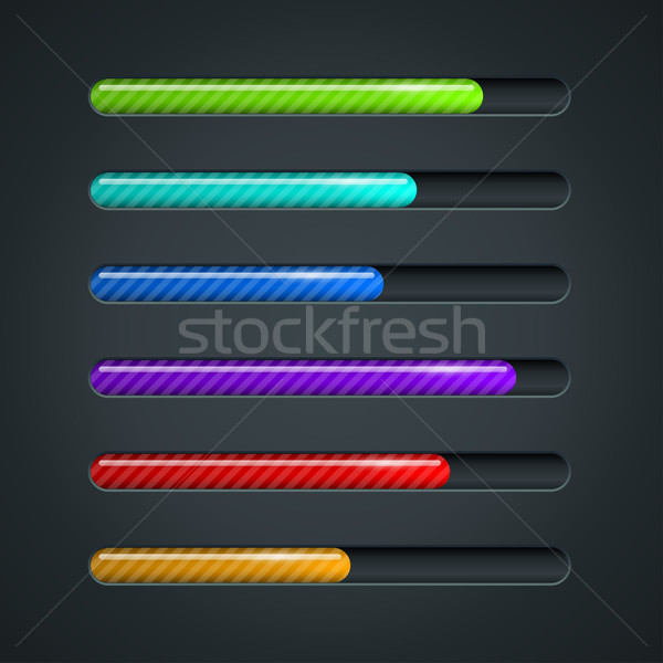 Color striped progress bar vector template. Stock photo © tuulijumala