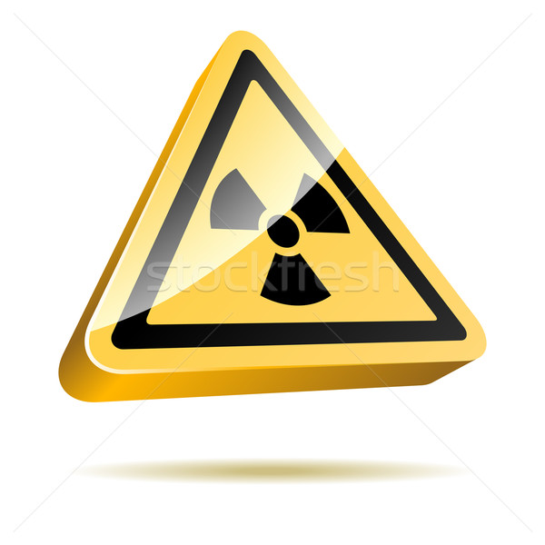 Promieniowanie ostrzeżenie 3D podpisania ikona odizolowany Zdjęcia stock © tuulijumala