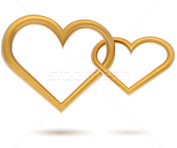 Chained gold hearts vector template isolated on white background Stock photo © tuulijumala