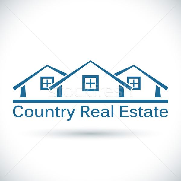 Country real estate icon isolated on white background. Stock photo © tuulijumala