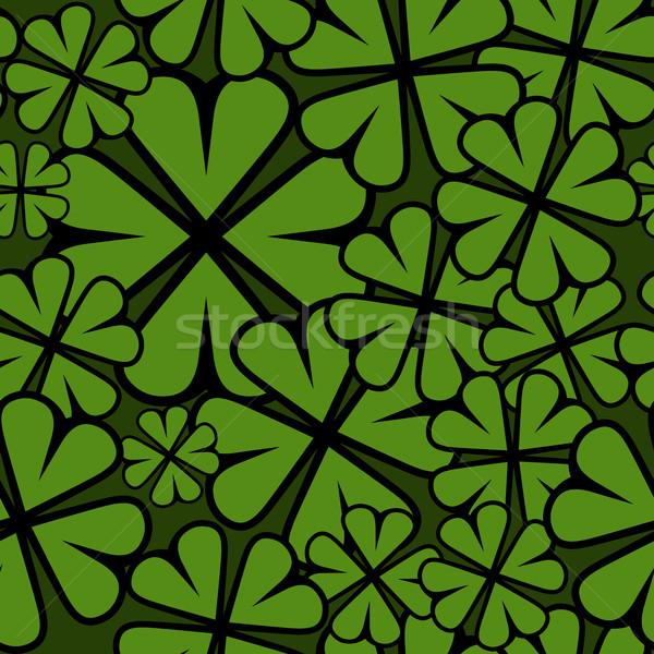 Seamless St. Patricks Day shamrock leaf pattern. Stock photo © tuulijumala