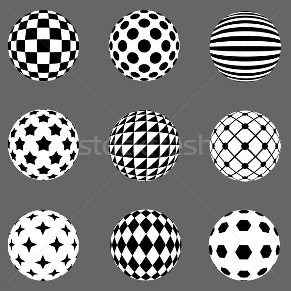 Black and white flat design patterned sphere vector design eleme Stock photo © tuulijumala