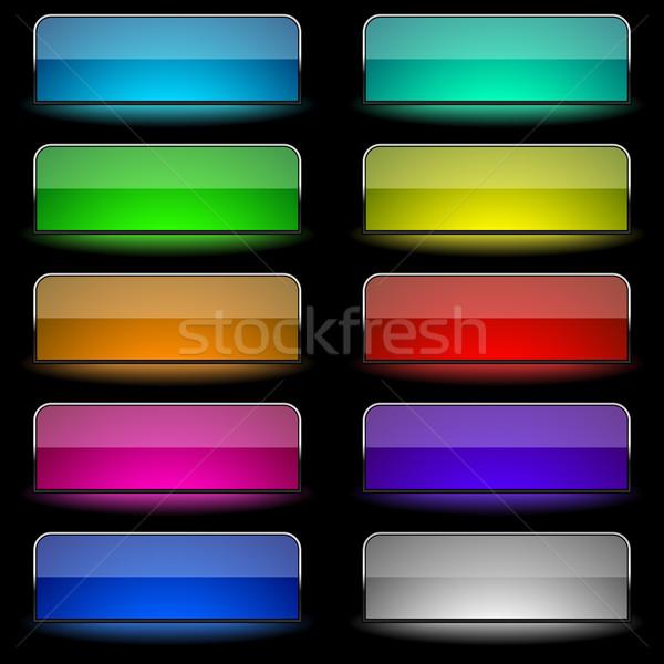 вектора набор прямоугольный Кнопки бизнеса Сток-фото © tuulijumala