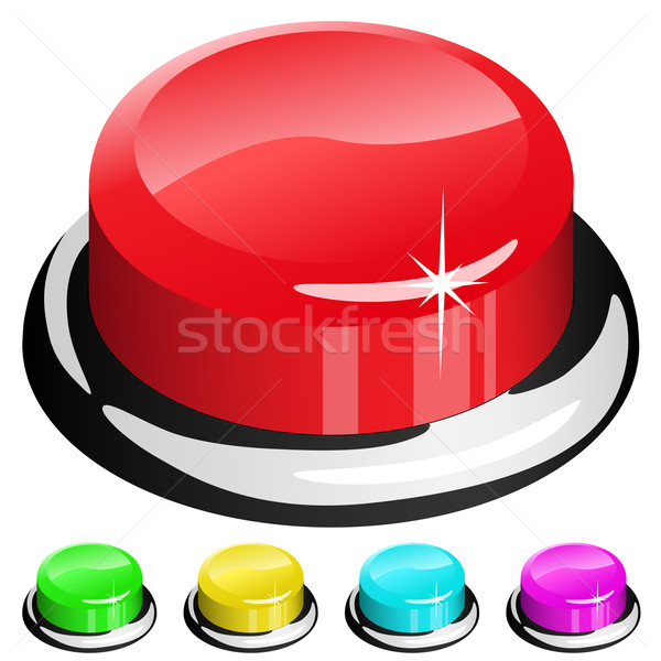 Stock photo: Vector illustration of 3D red button isolated on white with four