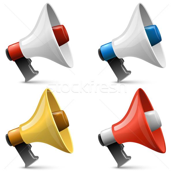 Color glossy megaphone sign vector set isolated on white backgro Stock photo © tuulijumala
