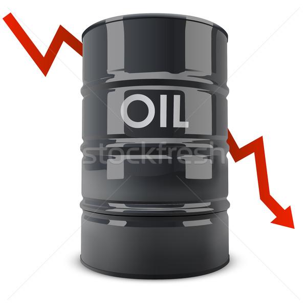 Stockfoto: Zwarte · olie · vat · Rood · pijl · beneden