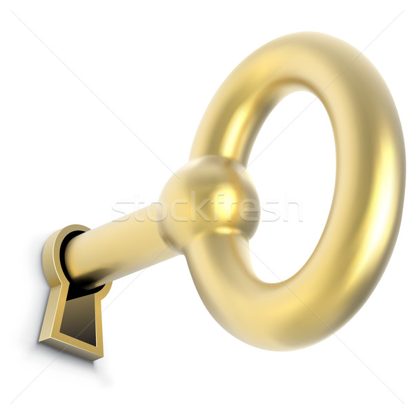 Gold key inserted in door keyhole vector illustration Stock photo © tuulijumala