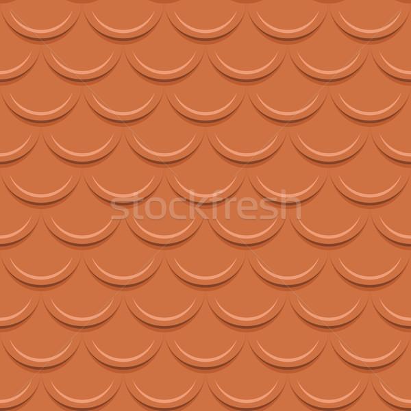 Clay tile roof seamless vector pattern. Stock photo © tuulijumala