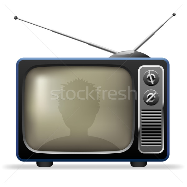 Retro TV set with viewer reflection. Stock photo © tuulijumala
