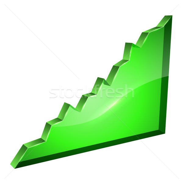 3D ascending green glass graph vector template. Stock photo © tuulijumala