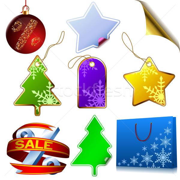 Wektora zestaw zimą sprzedaży elementy odizolowany Zdjęcia stock © tuulijumala
