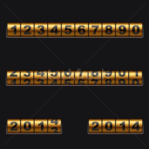 Out-dated mechanical golden counter vector template. Stock photo © tuulijumala