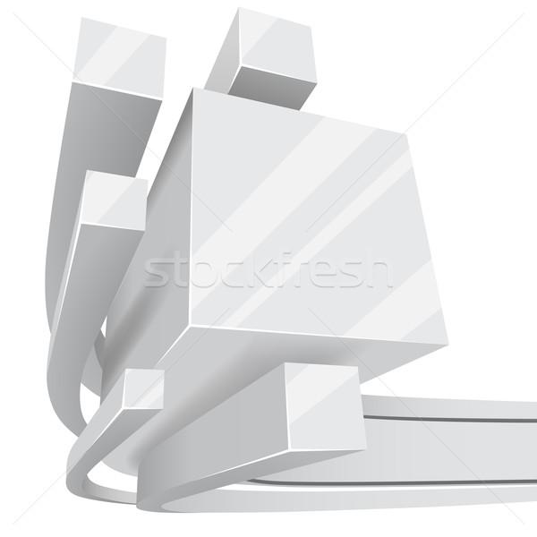 Abstract witte 3D vierkante exemplaar ruimte business Stockfoto © tuulijumala