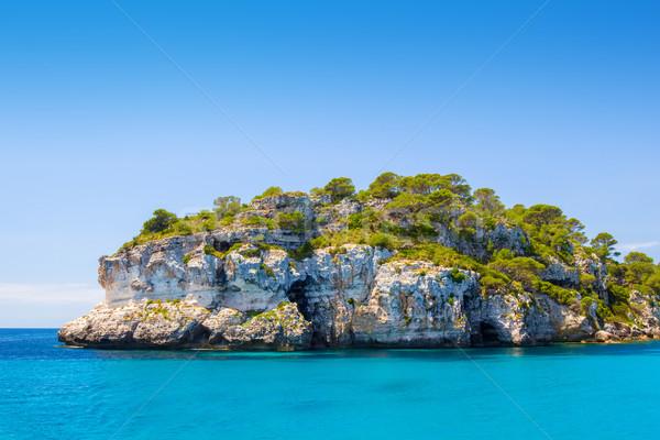 Menorca island south coast sea-cliff in sunny day, Spain. Stock photo © tuulijumala