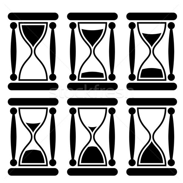 Stockfoto: Zwart · wit · icon · tijd · klok · ontwerp · snelheid