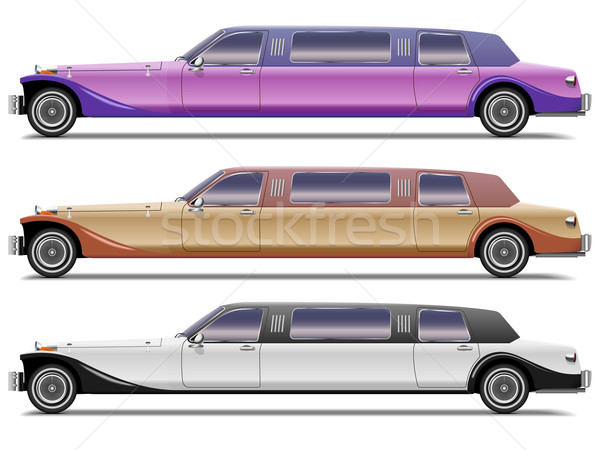 Vector set of old-styled realistic limousines isolated on white  Stock photo © tuulijumala
