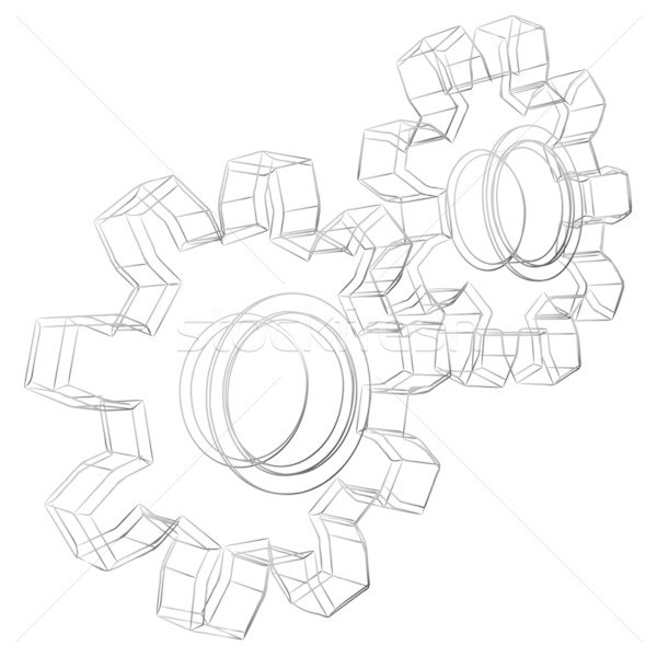 Pencil sketch stylized 3D cogwheels isolated on white background Stock photo © tuulijumala