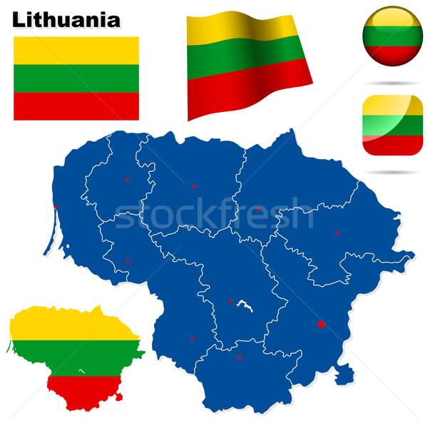 Stock fotó: Litvánia · vektor · szett · részletes · vidék · forma