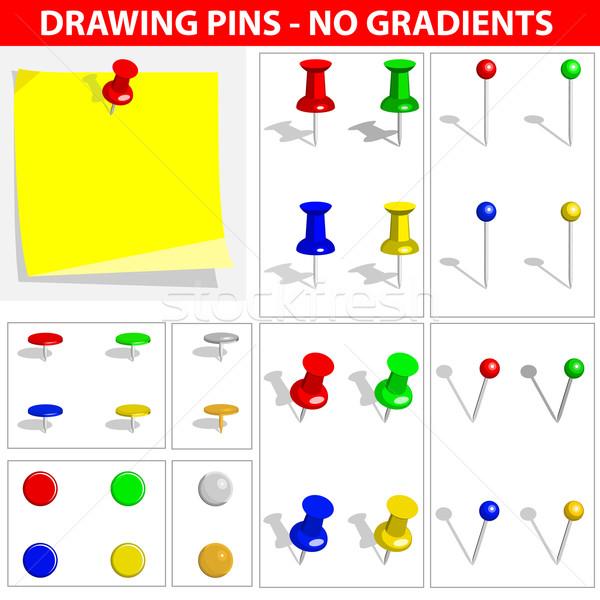 Vector set of push pins isolated on white background. No gradien Stock photo © tuulijumala