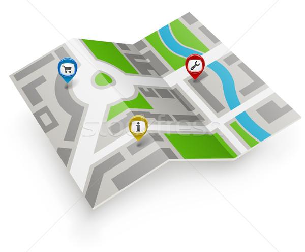 Papier kaart vector icon kleur weg Stockfoto © tuulijumala