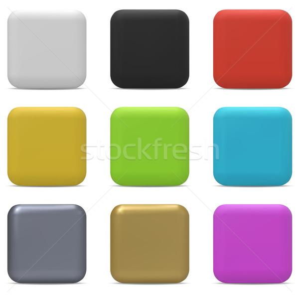 Color rounded square buttons isolated on white background. Stock photo © tuulijumala