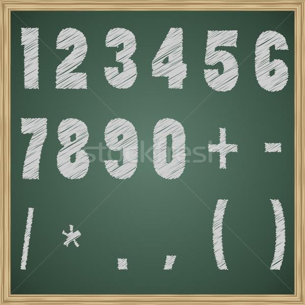 Chalk figures on the blackboard vector template.  Stock photo © tuulijumala