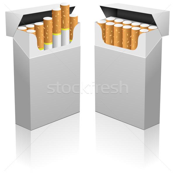 Opened blank realistic cigarettes pack vector template. Stock photo © tuulijumala