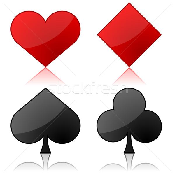 Vector illustration of playing cards suits isolated on white bac Stock photo © tuulijumala