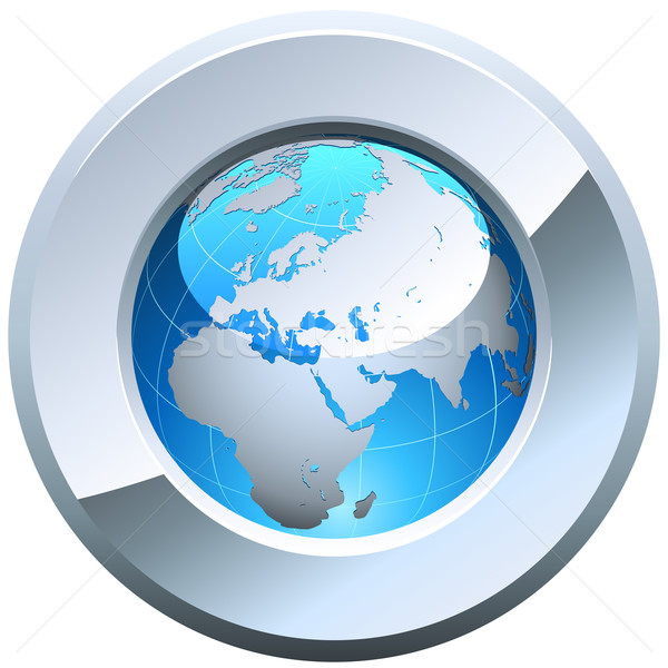 Globe button rimmed with metal glossy frame isolated on white. Stock photo © tuulijumala