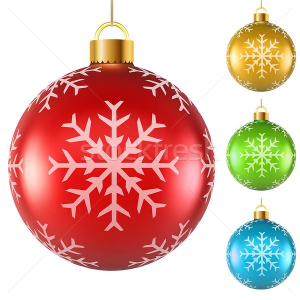 Kleurrijk christmas sneeuwvlok patroon geïsoleerd Stockfoto © tuulijumala