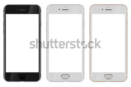 Zwart wit goud smartphone witte Stockfoto © tuulijumala