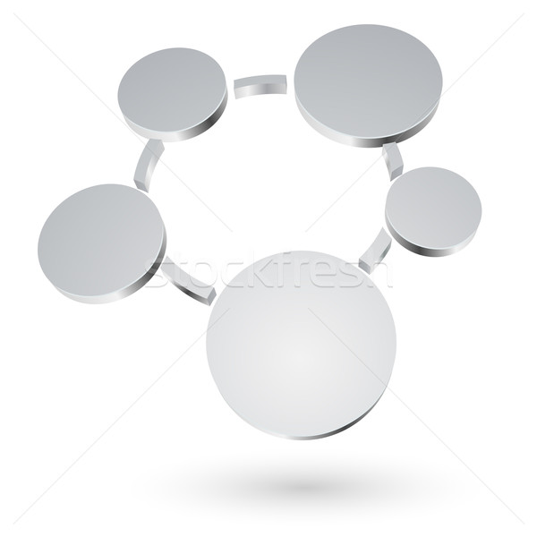 Abstract 3D metalen cirkels diagram geïsoleerd Stockfoto © tuulijumala