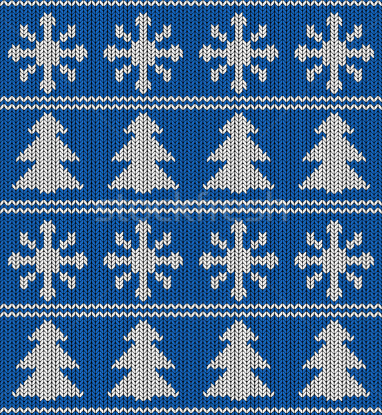 Naadloos Blauw witte gebreid vector patroon Stockfoto © tuulijumala