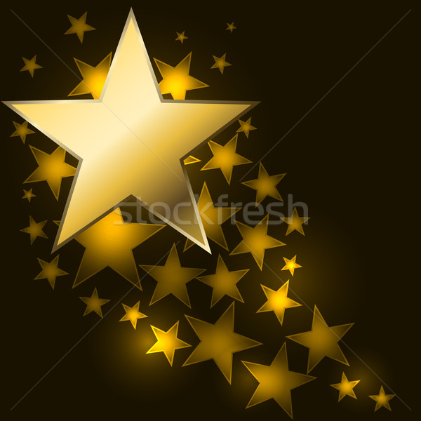 Abstract starry background with golden star shaped label. Stock photo © tuulijumala