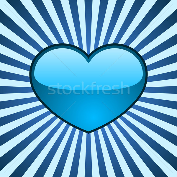 Vector background with glossy blue heart Stock photo © tuulijumala
