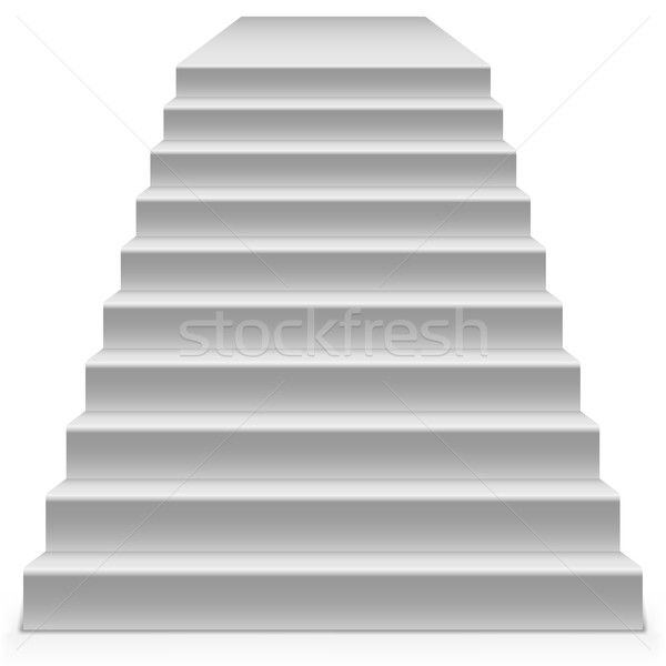 Stock photo: White steps to pedestal vector template isolated on white backgr