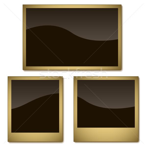 Foto stock: Vector · establecer · foto · marcos · aislado