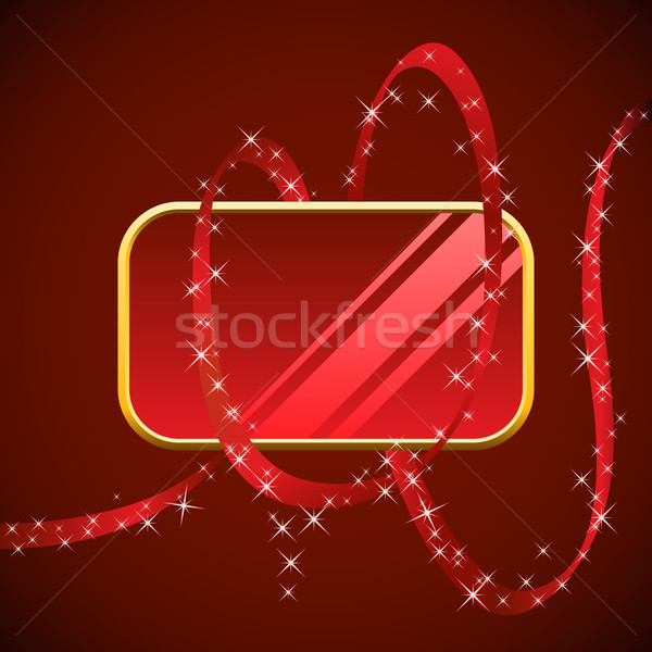 Blank red glossy banner wrapped with red ribbon. Stock photo © tuulijumala