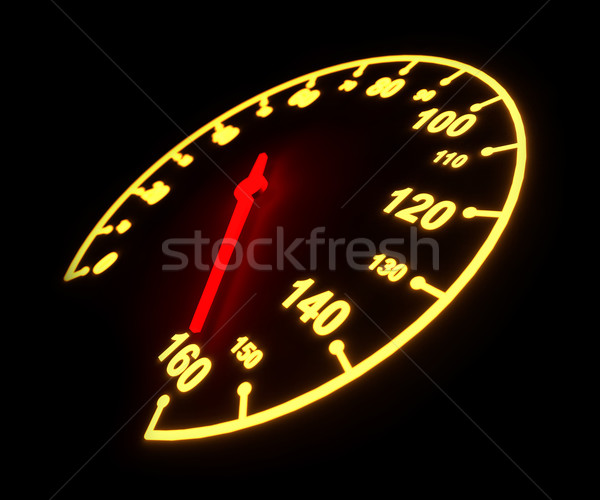 Glowing light automobile speedometer dial isolated on black back Stock photo © tuulijumala